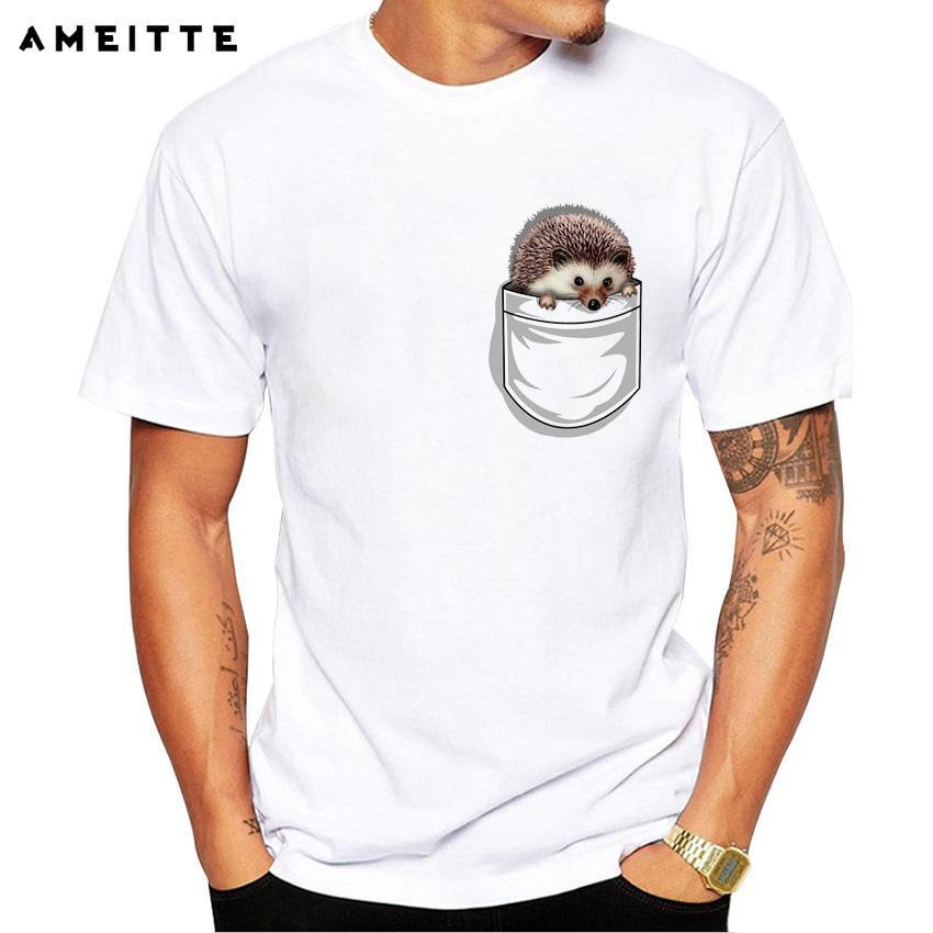 2cff26fb Cute Hedgehog In Pocket T-shirt Summer Customied Animal Pocket T Shirt  Men's Novelty Hipster Short Sleeve Basic Tops Tee