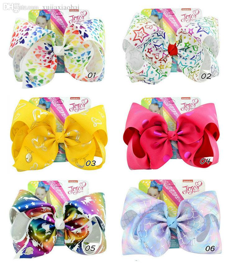 8 inchs JOJO bow series rainbow stars love unicorns printing giant bow girl hair clips children's bobby pin with card 14 designs