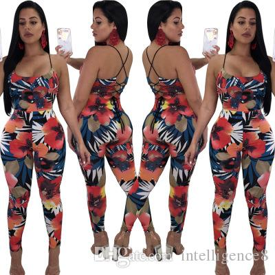 065cfdea935d 2019 Women Sexy Floral Printed Tight Jumpsuit Romper High Waist Bodycon  Club Outfit Casual Long Playsuit Sleeveless From Intelligence8