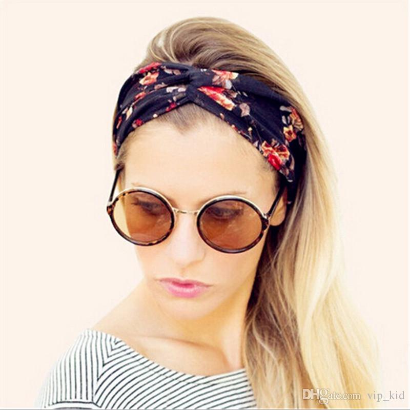 Elastisches Stirnband der Frauen Blumenböhmen-Art-Stirnband Hairband Baumwollkreuz hairband 9 Farben 8.7 * 3.1 Zoll