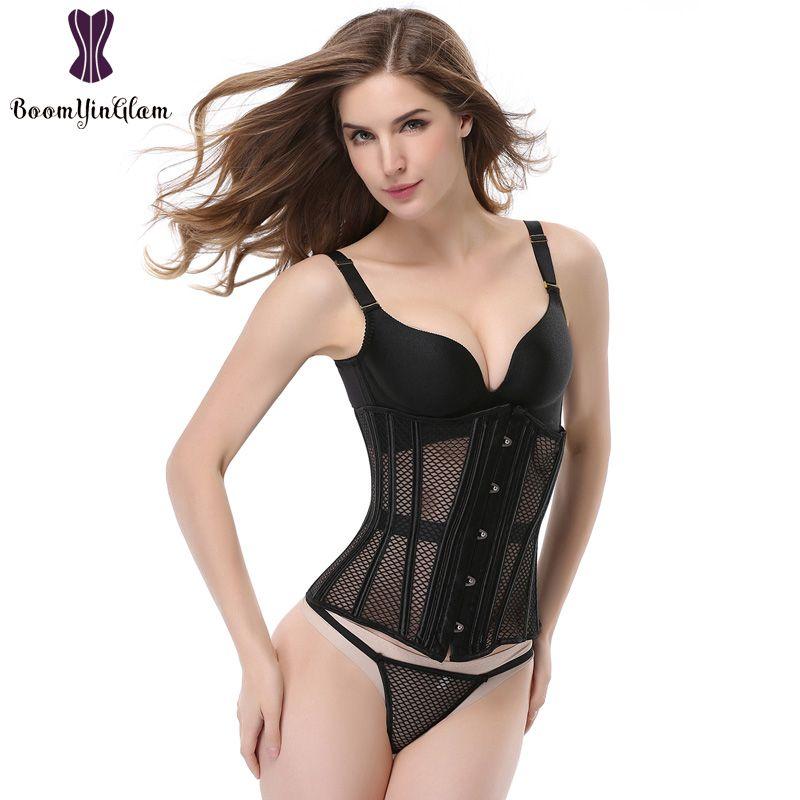931 # verão mulheres body shaper Bustiers Espartilhos Oco Net fio de cintura bodysuit bustier Intimates shapewear espartilho desossada de aço