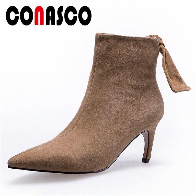 cb895ac2 Compre CONASCO Retro Mujer Mariposa Nudo Zapatos De Fiesta Mujer Tacones  Altos Sexy Punta Estrecha Vaca De Gamuza Corto Botas Básicas Señoras Bombas  A ...