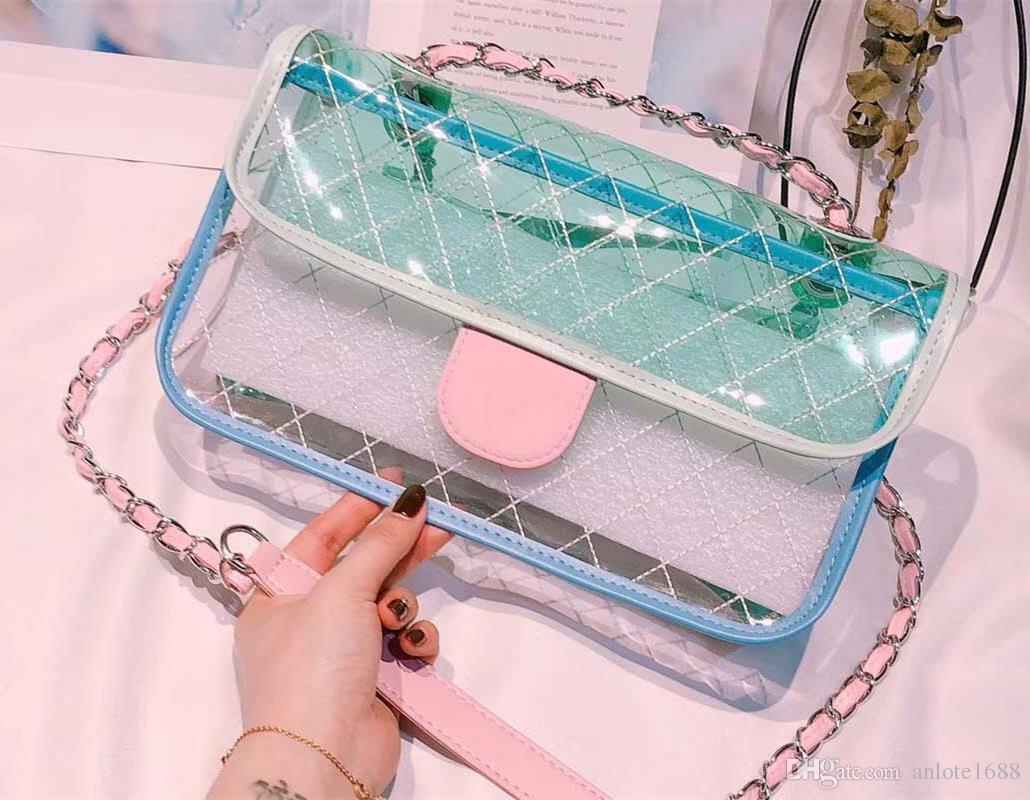 1a30a734ae44 Summer PVC Sweet Women Jelly Crossbody Bags Quilted Chain Ladies Flap Messenger  Bags Candy Color Handbags Silver Tone Purse And Clutch Wallets For Women ...