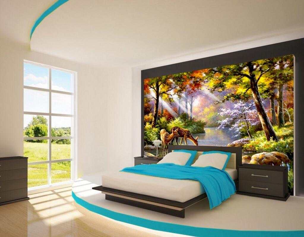 3d Wallpaper Custom Photo Mural Sunshine Forest Deer Landscape