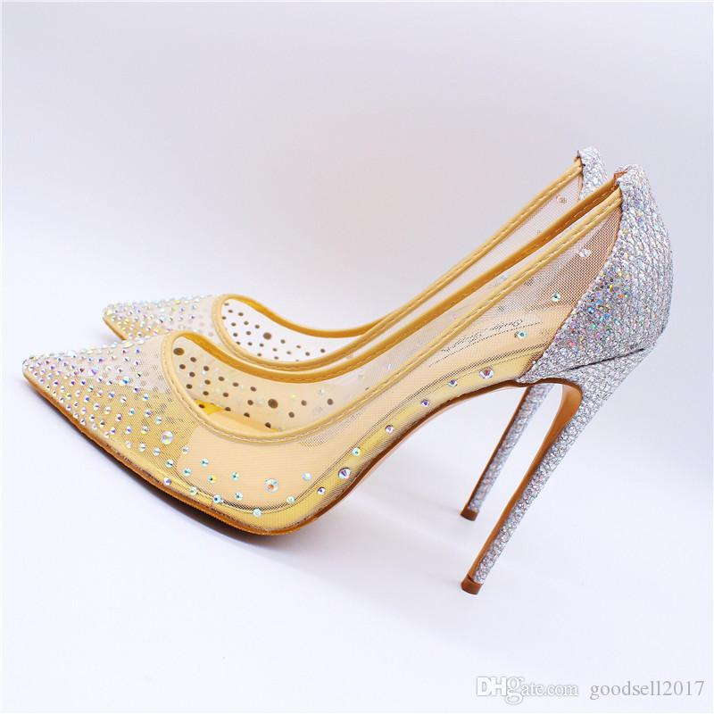 749458fa869 Lady HOT 100MM NET YARN CRYSTAL SHOE HEELS NUDE MESH STRASS CRYSTAL POINT  TOE HIGH HEELS PUMPS NEW Stacy Adams Shoes Purple Shoes From Goodsell2017