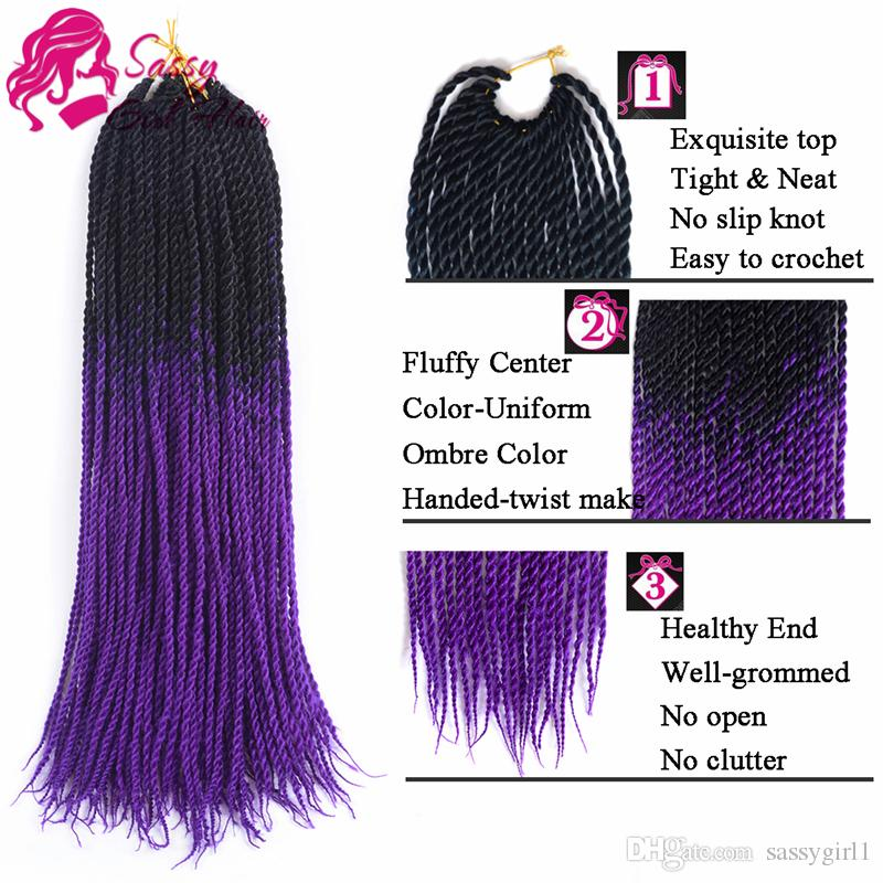 Ombre Senegalese Twist Crochet Hair 24inch Fiber Senegalese Twist Hair Ombre Braiding Hair Extensions Black/purple SASSY GIRL