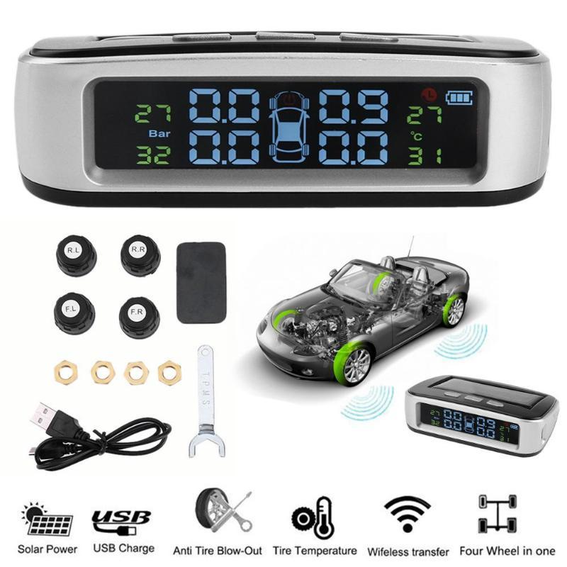 Smart Car TPMS Solar Tire Pressure Monitor System with 4 External Sensors Digital LCD Display Auto Security Alarm Systems New