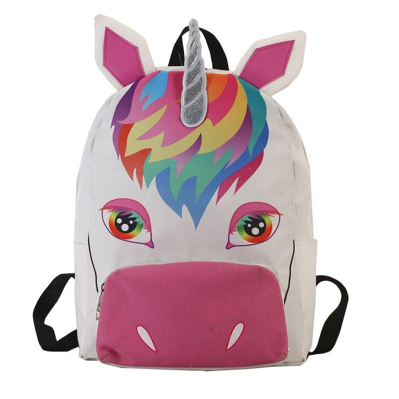 Unicorn Zipper Women Canvas Backpack Girls Rucksack Travel School Bag  Fashion Girl Cartoon Animals Backpack Ljjf029 Book Bags Herschel Backpacks  From ... 8c96ff7324be5