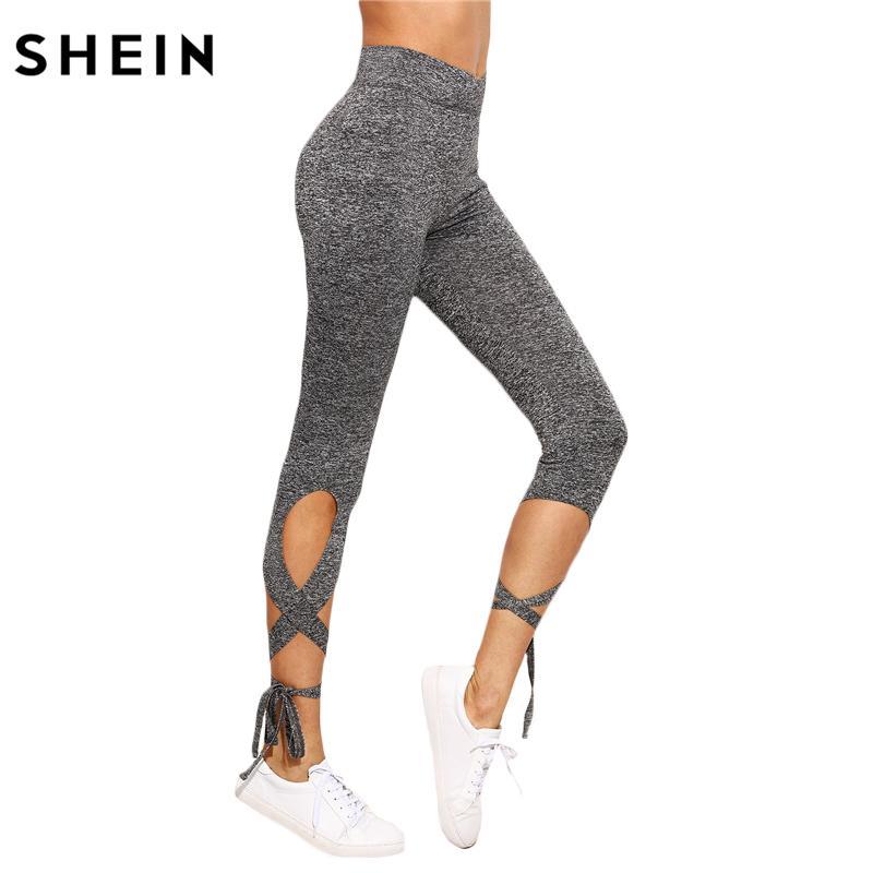 0b5c47720a9836 2019 SHEIN Women Pants Trousers For Ladies Fitness Plain Light Grey High  Waist Crisscross Tie Fitness Elastic LeggingsX82301 From Ruiqi01, $15.54 |  DHgate.