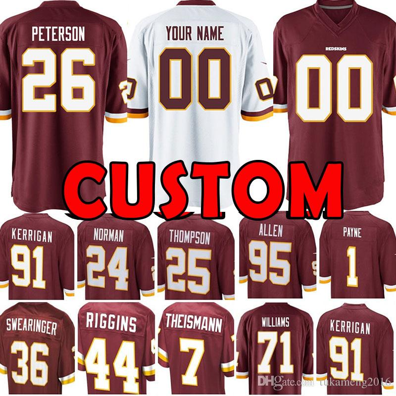 4f95142fd3a 2019 Custom Washington Redskins Jersey 26 Adrian Peterson 91 Ryan Kerrigan 24  Josh Norman 36 D.J. Swearinger 25 Chris Thompson 7 Theismann Payne From ...