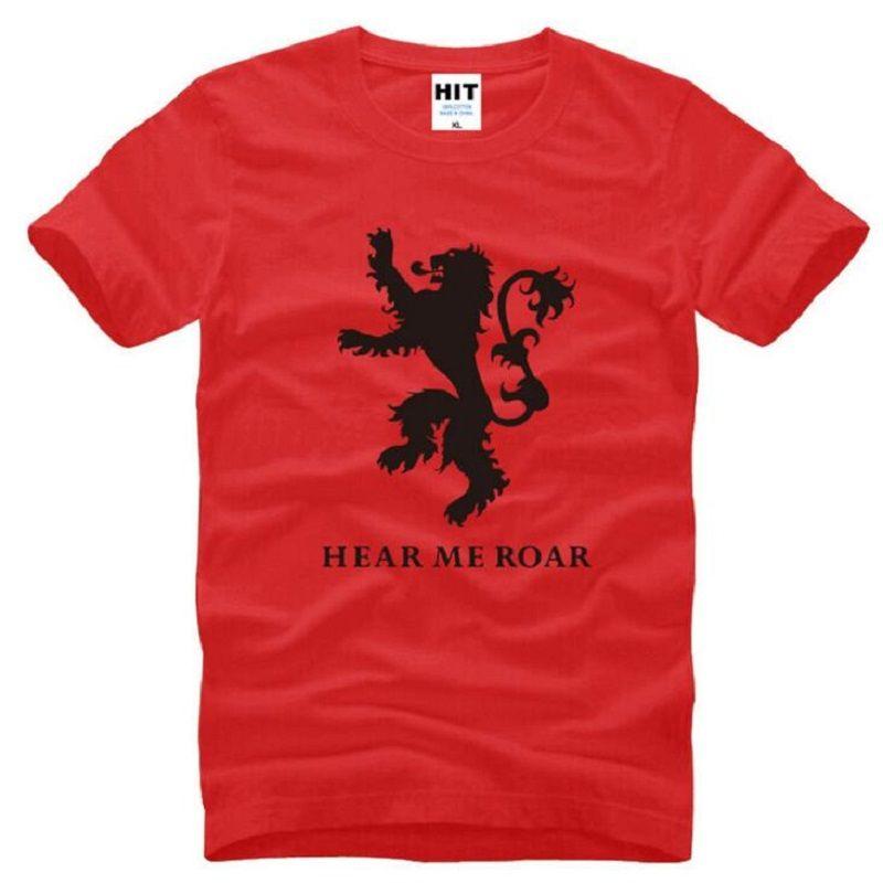 Game Of Thrones Gold Llion Hear Me Roar Printed T Shirts Men Summer Style Short Sleeve O-Neck Cotton Men's T-Shirt TV Fans Tees