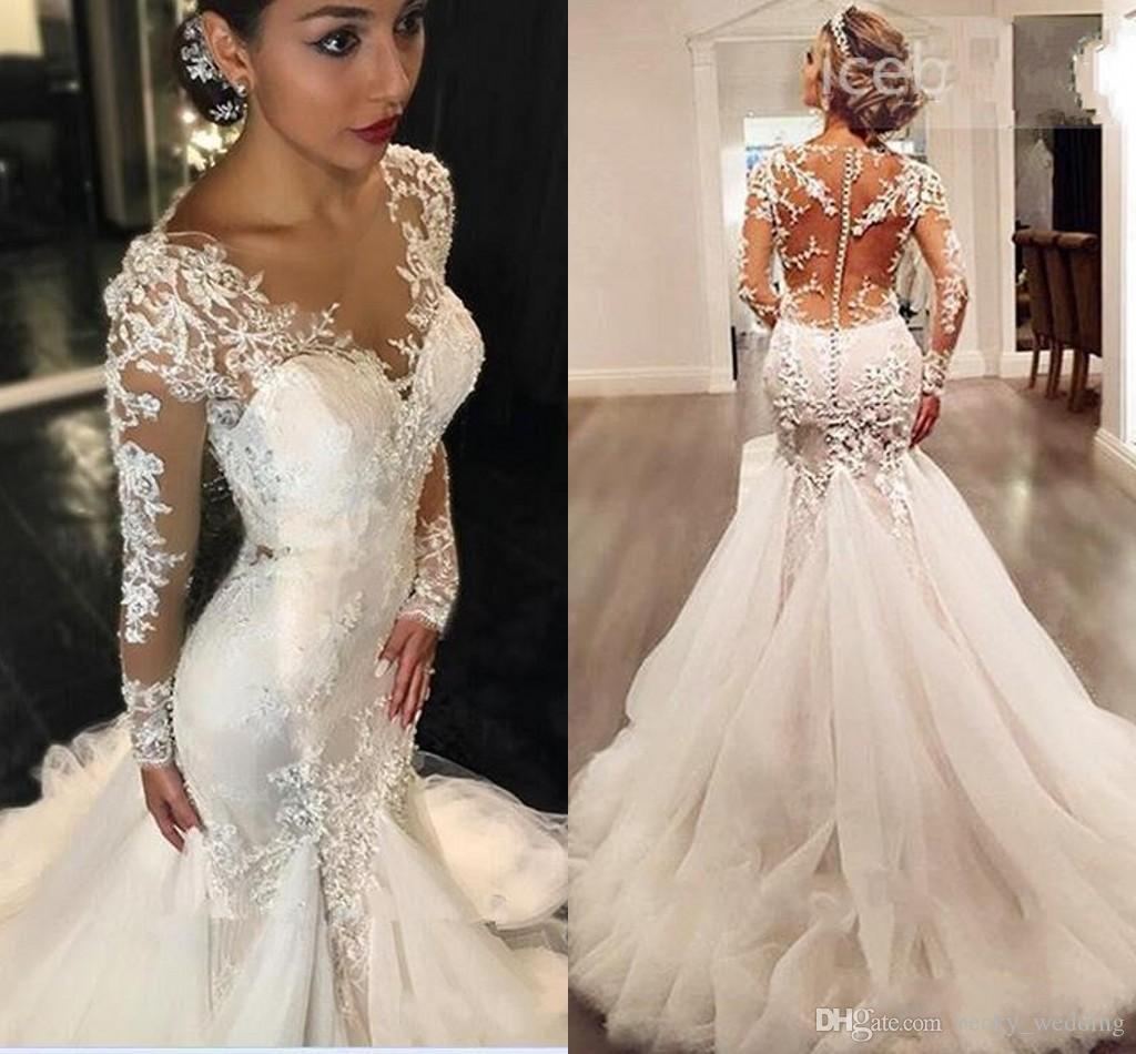 new sheer neck mermaid wedding dresses 2018 sexy long sleeves lace  appliques beaded illusion back trumpet style wedding bridal gowns