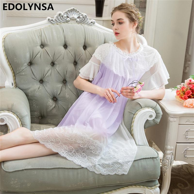 1d6f854ec8 2019 Sexy Nightgowns Sleepshirts 2018 Lace Sleepwear Soft Nightgown Sleep    Lounge Nightdress Solid Home Dress Nightgown Female  H585 From Regine
