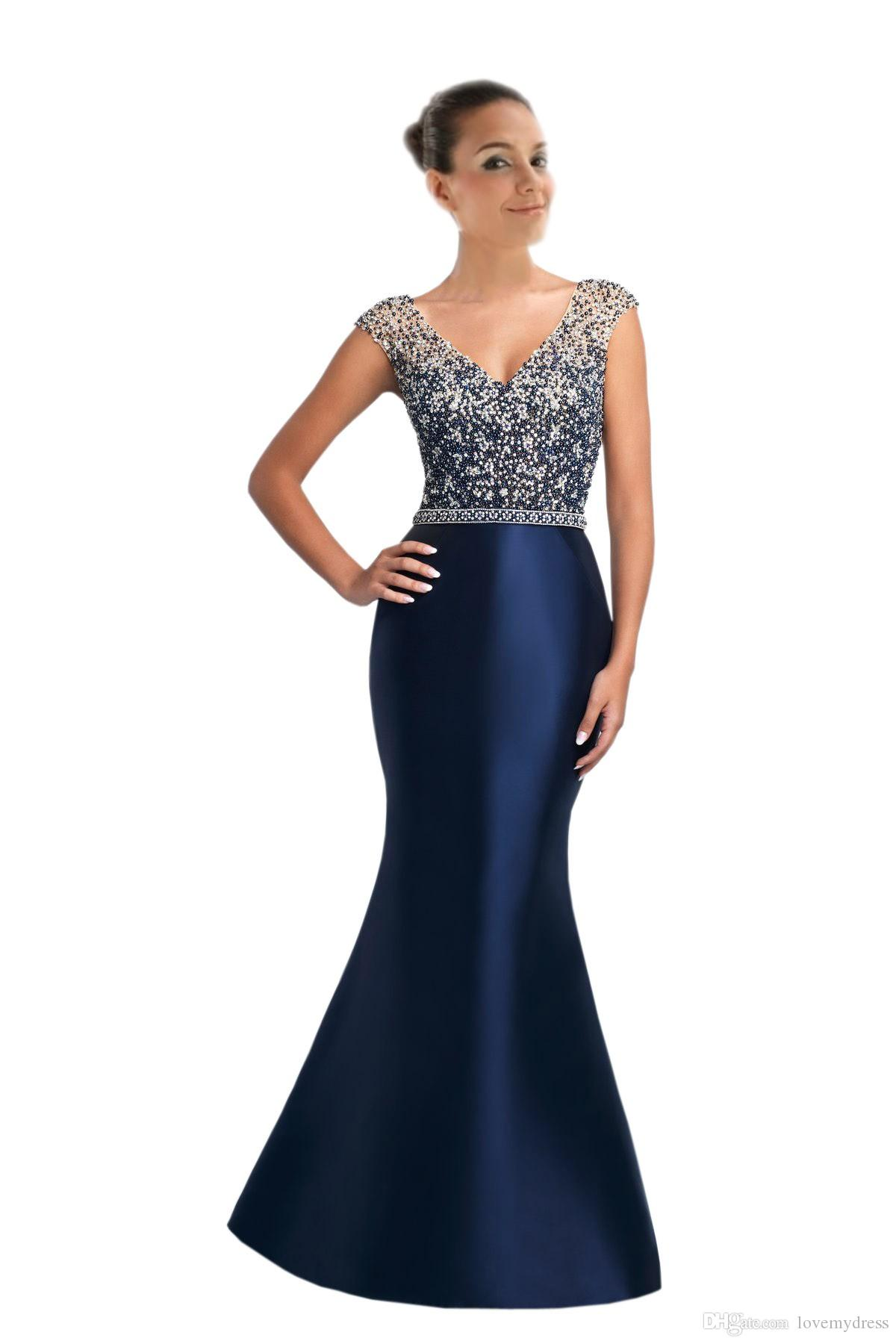 Sexy V Neck Long Cheap Prom Dresses Trumpet Pearls Beaded Satin Zipper Back  Crystal Beaded Evening Formal Pageant Party Dress For Women Cute Short Prom  ... 8e5f61291999