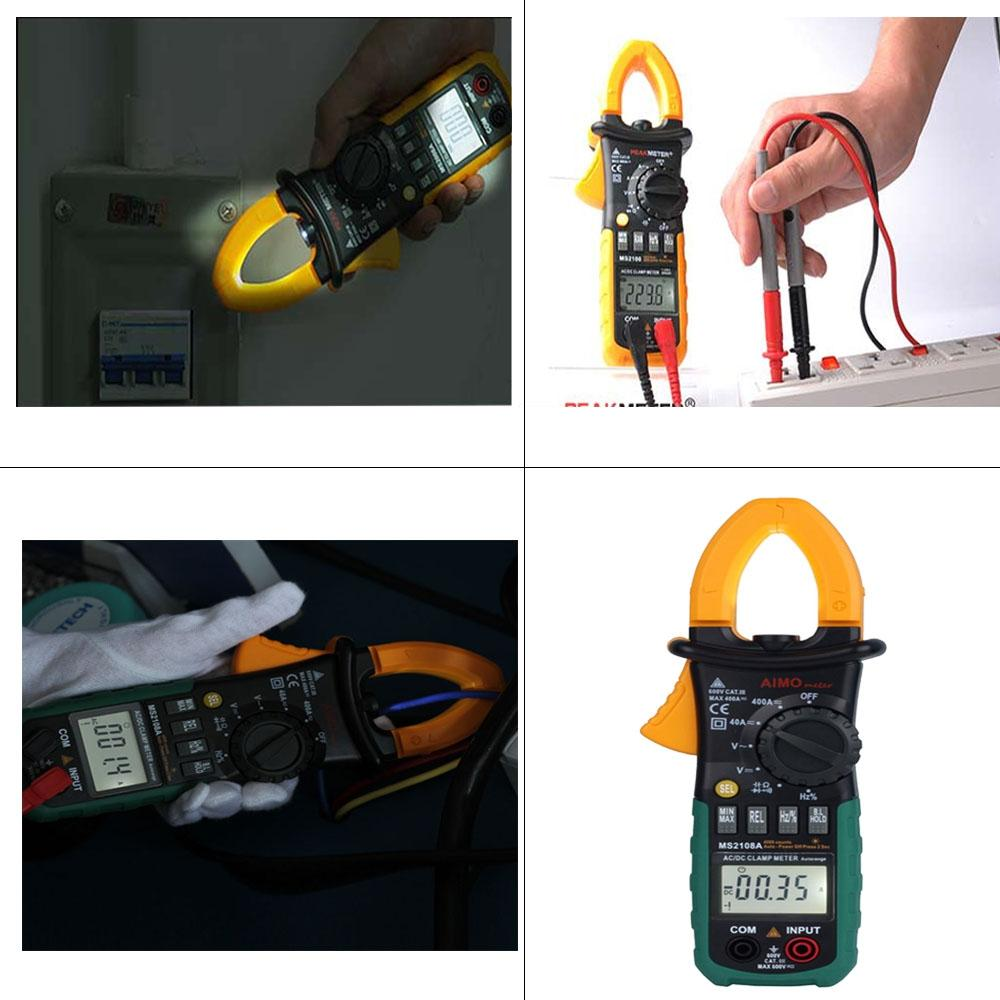 Digital Clamp Multimeter Auto Range 4000 Counts LCD Display Ammeter Voltmeter Ohmmeter with Diode Continuity Test Capacitor Resistance Test