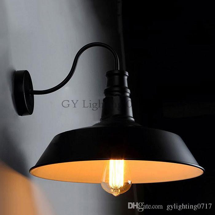 AC110-230V classica vintage industriale D26cm lampade a parete a collo di cigno nero bianco luce cucina ristorante moderno applique da parete arandela nero