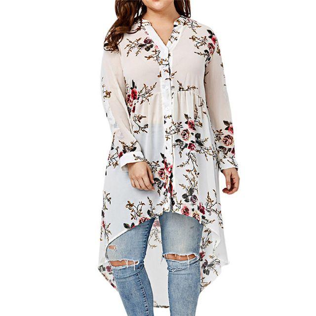 2018 Plus Size Camicetta con stampa floreale Camicetta colletto maniche lunghe tipo irregolare Camicia monopetto top Sep13