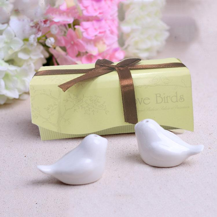 Feis Wholesale Lovebirds Ceramic Salt Pepper Shakers Wedding Favor