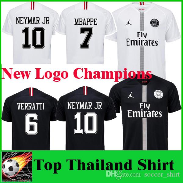 18 19 MBAPPE PSG Nuevo Logo Champions Edition Balck Soccer Jersey DI MARIA  DRAXLER CAVANI 2019 Camisetas De Fútbol PSG Camiseta De Fútbol Blanca Venta  ... 7c2b45ed04b70