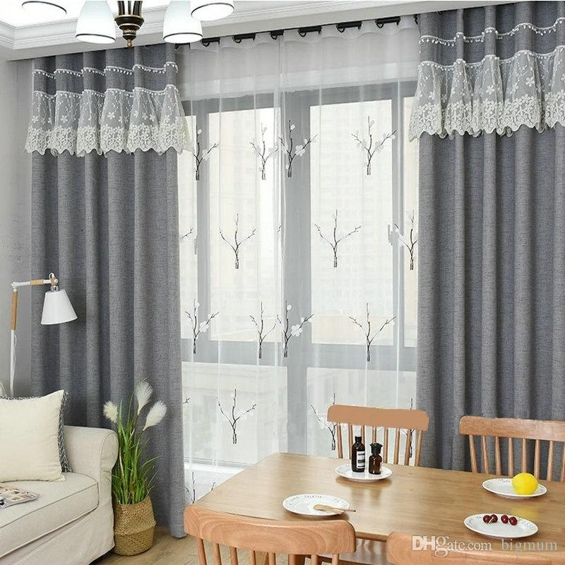 Solid Blackout Curtain Linen Drape White Tulle for Living Room Bedroom Window Lace Sewed Sample Style High Quality Dense Cloth