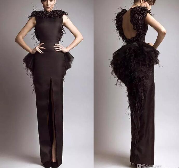 Krikor Jabotian Prom Dresses Vintage Formal Evening Dresses Black Satin Sheath Feather Backless Front Split Cap Sleeves Celebrity Gowns