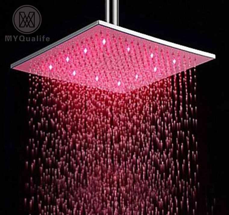 12 Stainless Steel Led Rain Shower Head Square Brushed Nickel