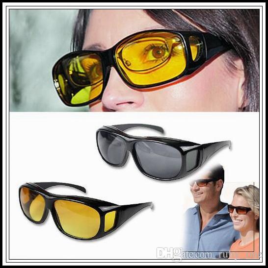 d3dd150cf948e Compre HD Visão Noturna Condução Óculos De Sol Dos Homens Lente Amarela  Sobre Envoltório Em Torno De Óculos De Condução Escuro UV400 Óculos De  Proteção Anti ...