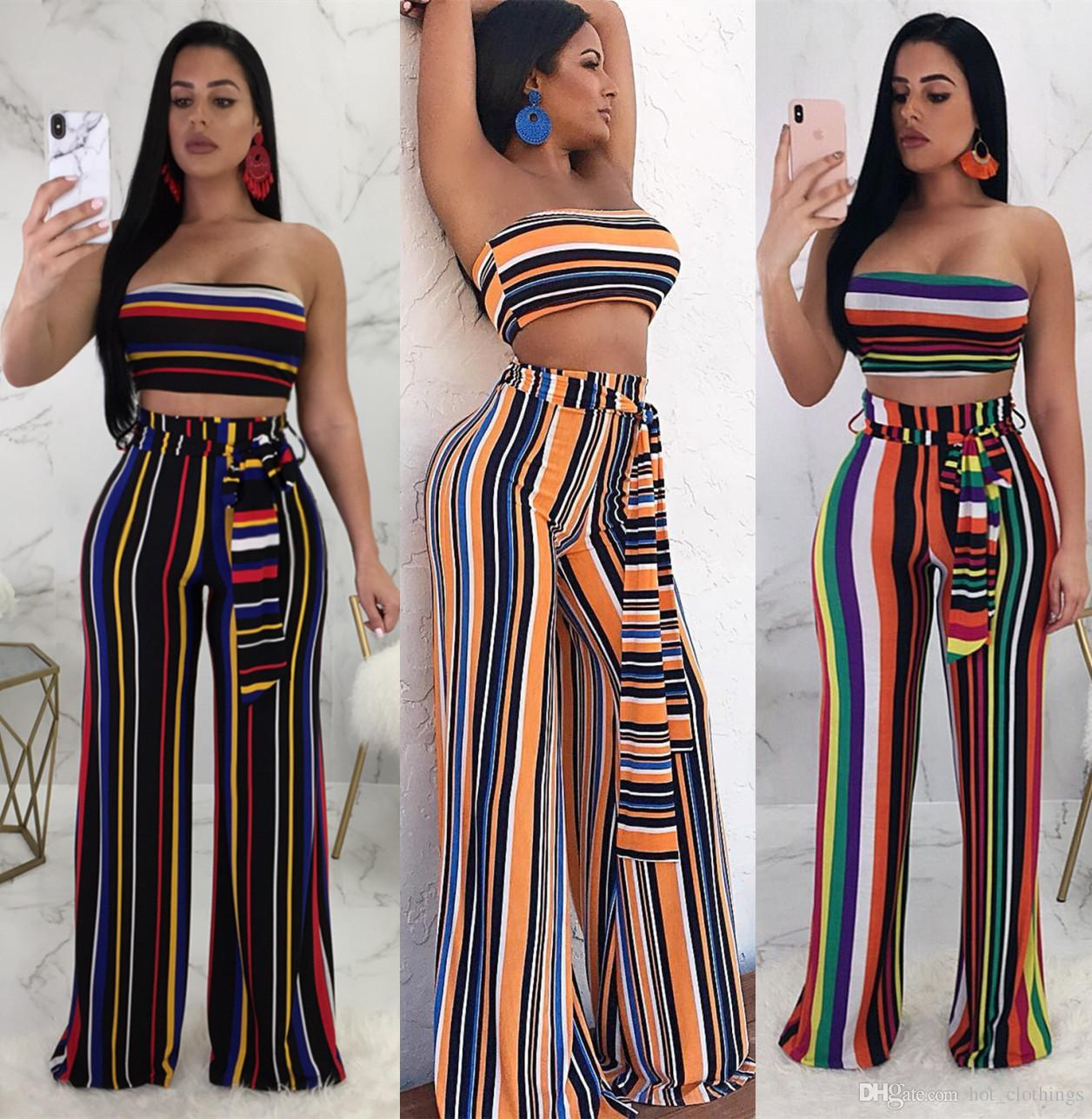 1258152baab 2019 Rainbow Vertical Striped Sexy Two Piece Set Women Strapless Sleeveless  Sheath Top And Vintage Empire Wide Leg Long Pant Suits From Hot clothings