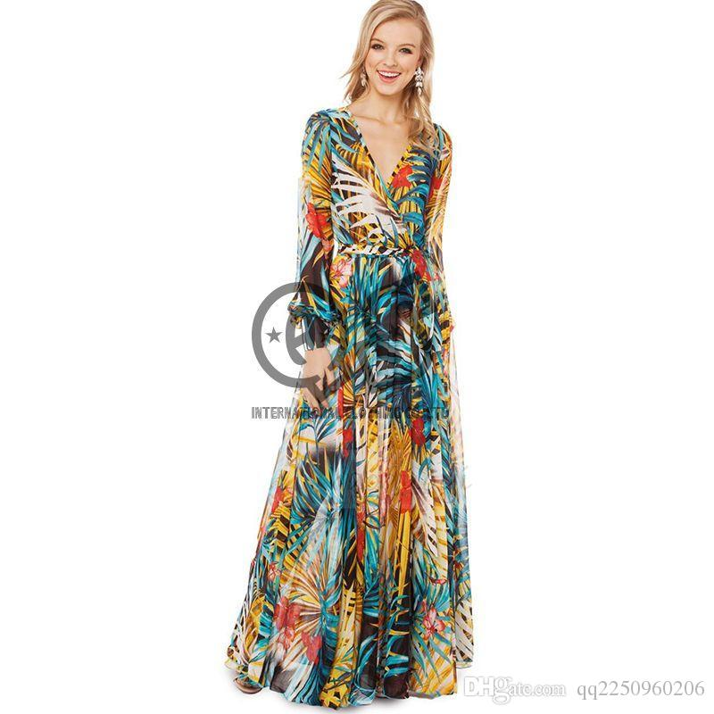 b7a6b12db02d2 2019 2018 New Womens V Neck Summer Tropical Gorgeous Plants Flower Print  Transparent Belt Chiffon Long Sleeve Long Dress HDY002 From Qq2250960206,  ...