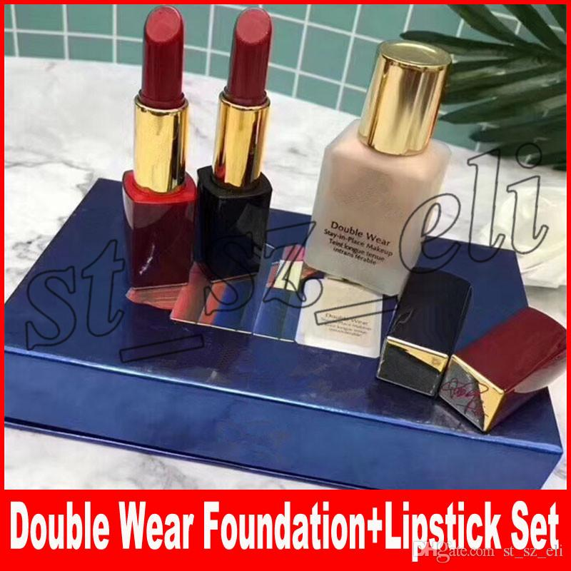 Famous Brand Makeup Set Matte Lipstick with Signature Double Wear Liquid Foundation 3 in 1 Kollection Kit