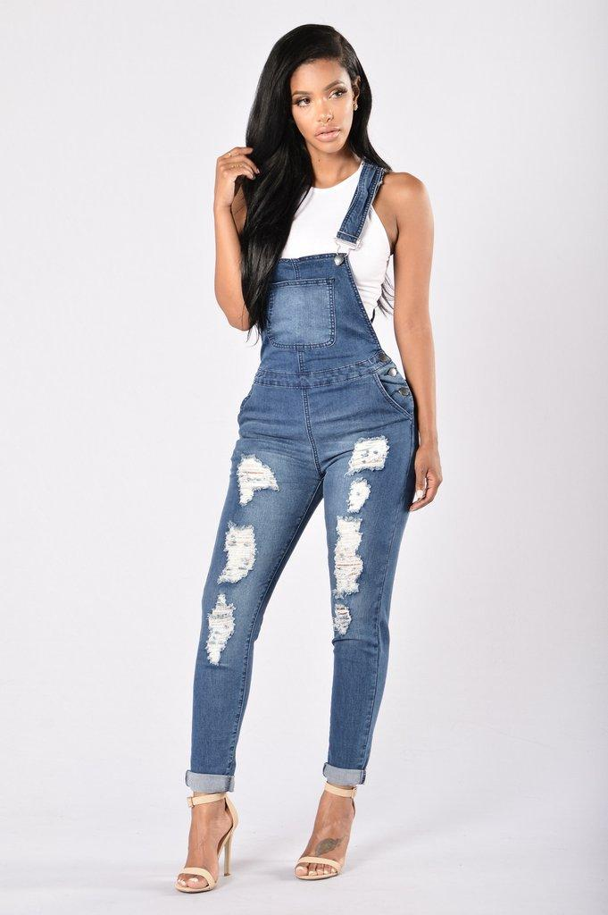 2019 Women Hole Hollow Solid Denim Jean Overalls 2017 Brand New