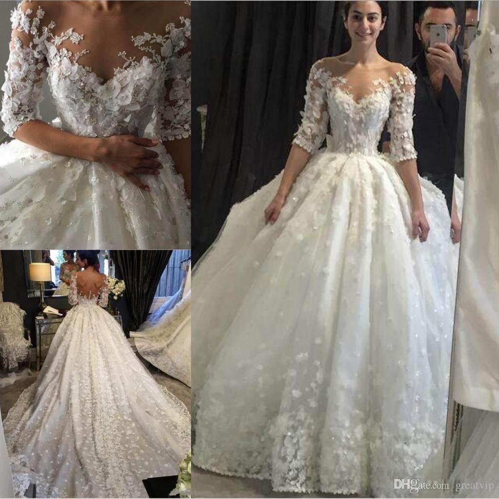 Elegante Elfenbein Spitze Ballkleider Hochzeit Kleider Vestido De Noiva Sheer Neck Korsett 3d Blumen Perlen Lace Up Prinzessin Braut Kleider Weddings & Events