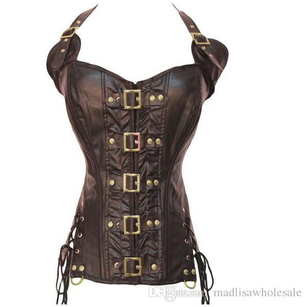 Pronta consegna Ladies Corsetto steampunk gotico in pelle nera in corsetto a coste di gomma overbust marrone e nero 0901