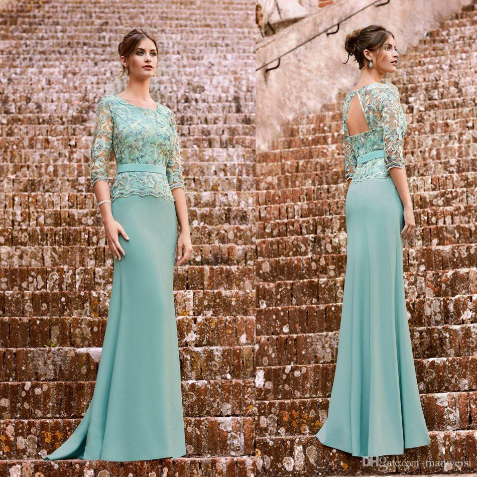 3 4 Long Sleeves Mermaid Mother Of The Bride Dresses 2019 New Lace Appliqued Evening Gowns Floor Length Formal Wedding Guest Dress