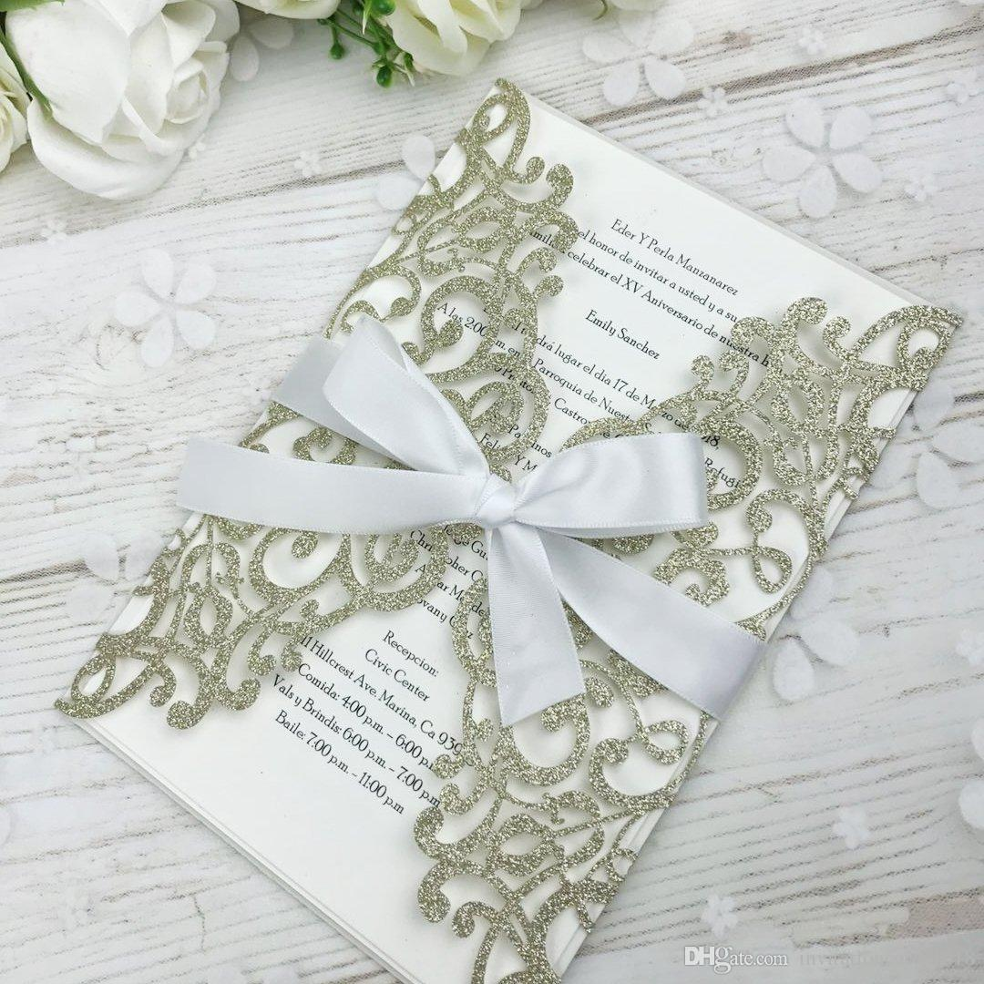 2019 New Light Gold Glitter Laser Cut Invitations Cards With Beige