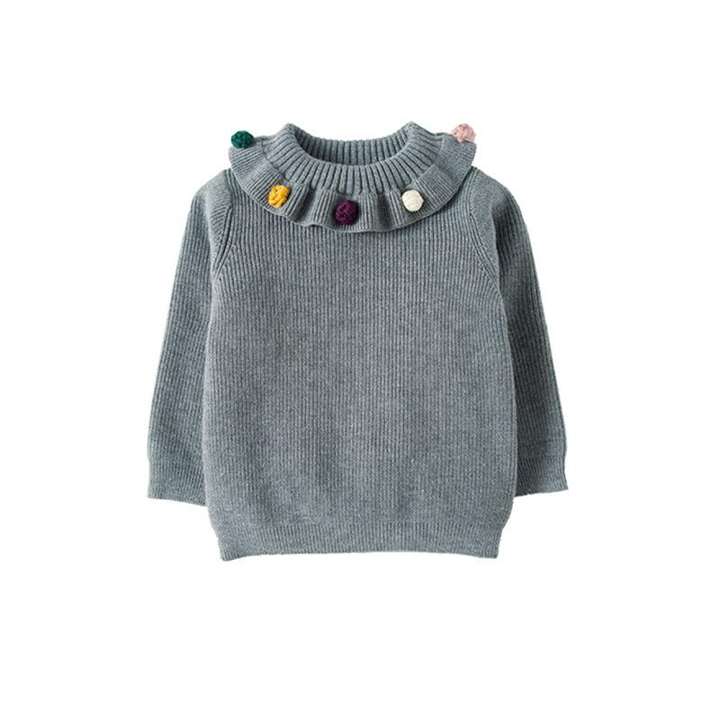 7b60bfd5969f 2018 New KIDS Girls Ruffles Neck Sweater Winter Autumn Thick Warm Sweaters  Sweet Style Baby Girls Clothes Kids Knitting Costume Baby Sweaters To Knit  Hand ...