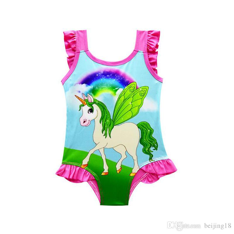 6 design INS Unicorn Swimwear One Piece Bowknot Swimsuit Bikini Big Kids Summer Cartoon Infant Swim Bathing Suits Beachwear