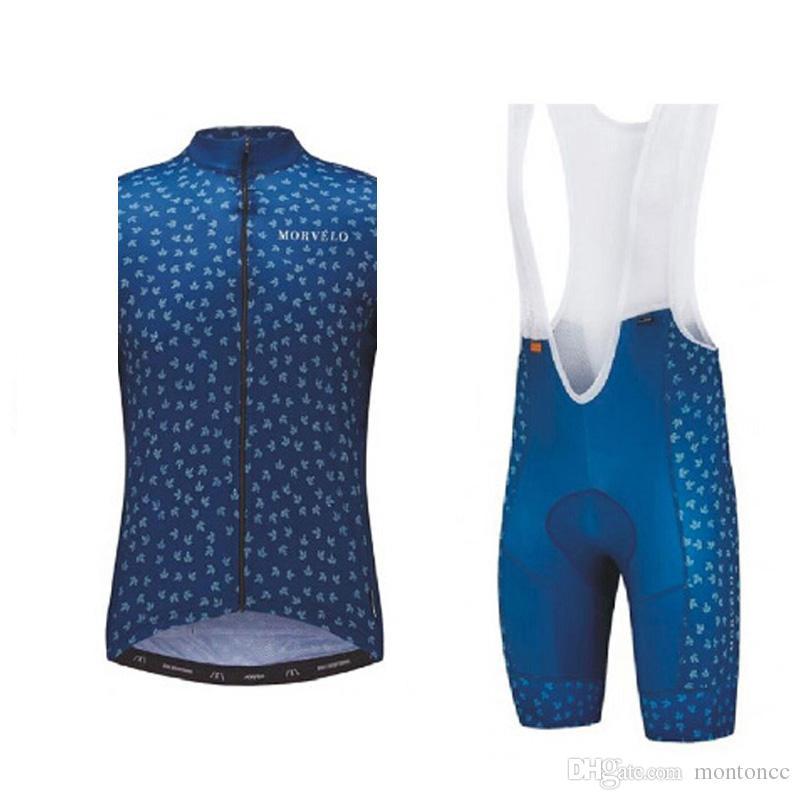 Morvelo team Cycling Sleeveless jersey Vest bib shorts sets new Breathable Mountain bike Sportwear GEL Padded ropa ciclismo F52201