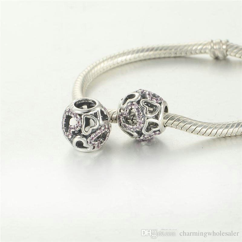 Yüzer kalp charms swarovski boncuk takı yapımı için 925 gümüş sıcak satış DIY charms bilezik uyar ve kolye ücretsiz kargo LW444