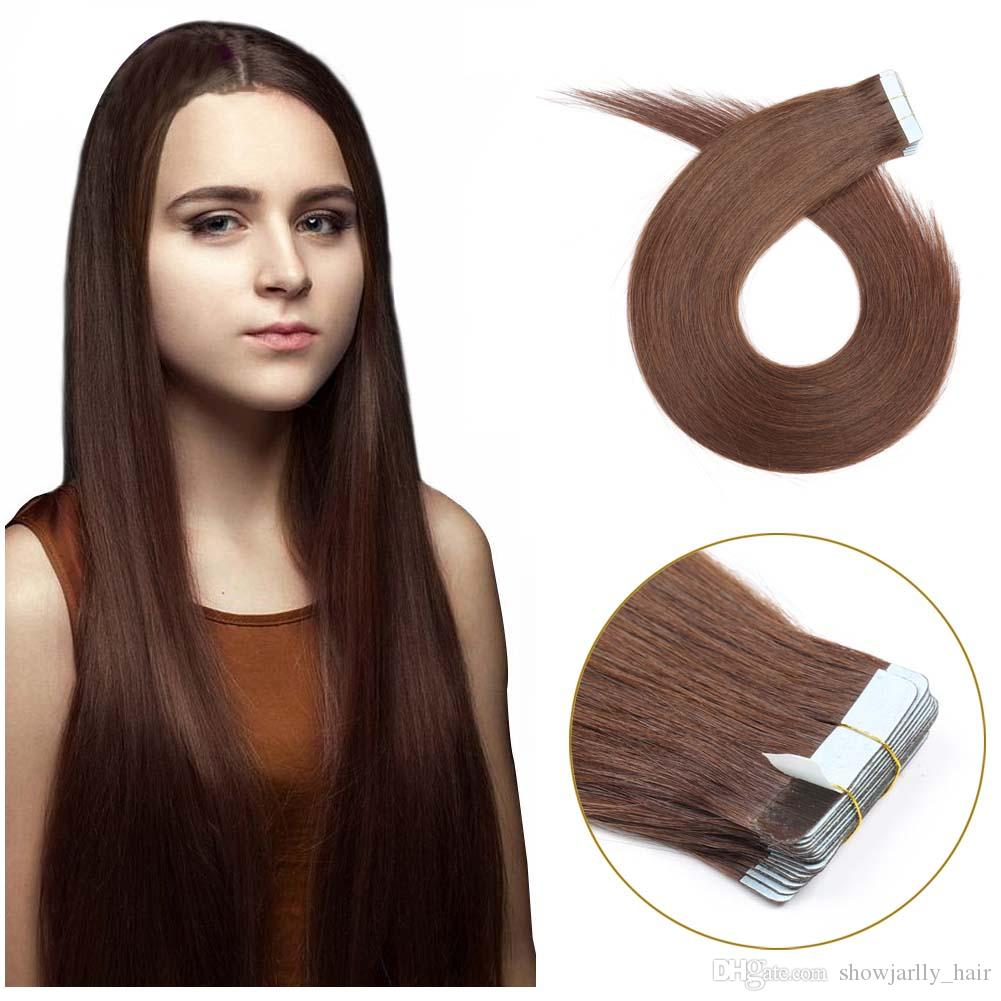 Tape In Human Hair Extensions Medium Brown All Lengths Tape In