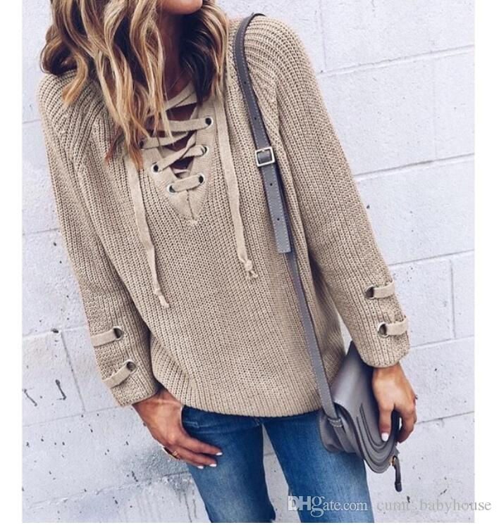 Women Sweater And Pullovers Female V Neck Knitted Lace Up Sweater Striped Bandage  Cross Ties Tops Loose Casual Long Jumper Lace Sweater Lace Up Sweater ... ca3244ce0