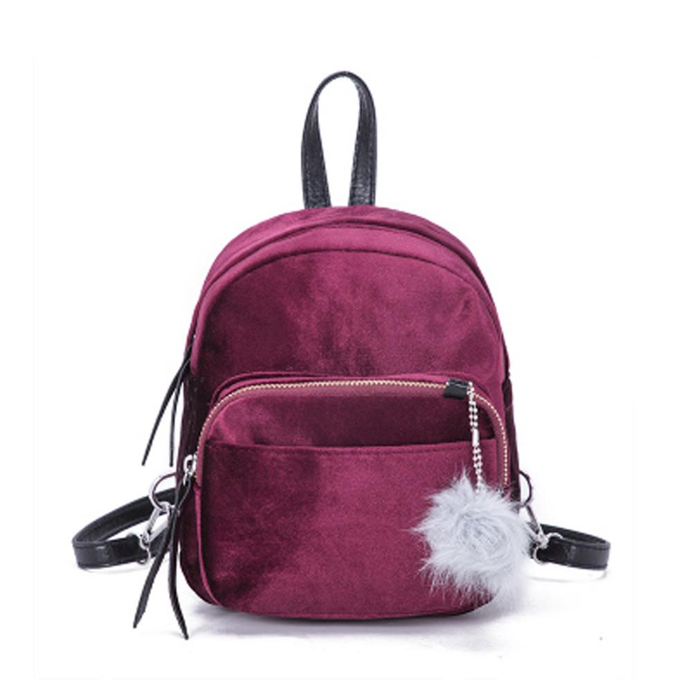 Mini Fur Ball Backpack Fashion Shoulder Bag Solid Women Girls Travel School Bags