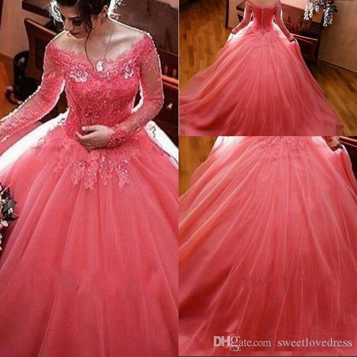 2018 Modest Watermelon Sweet 16 Dresses Long Sleeves Lace Tulle Ball ...