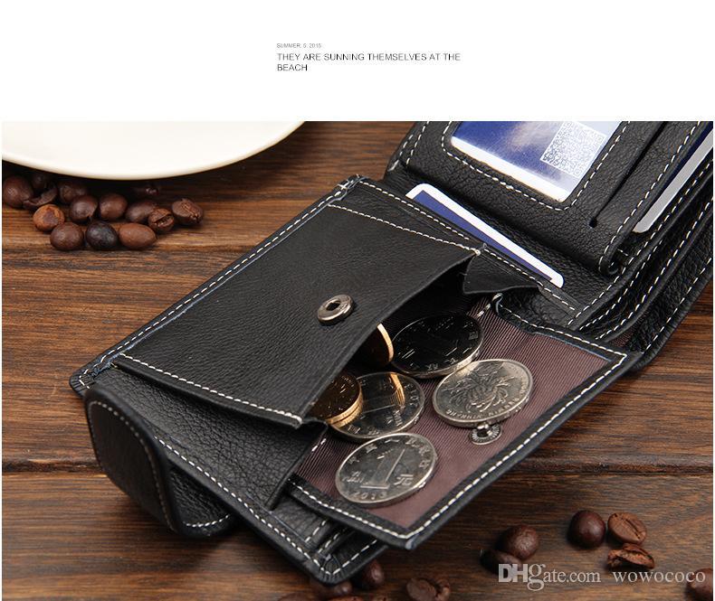الرجال جلدية فاخرة محافظ لينة جودة الائتمان المحفظة بطاقة الأسود القهوة براون BIFOLD محافظ A089