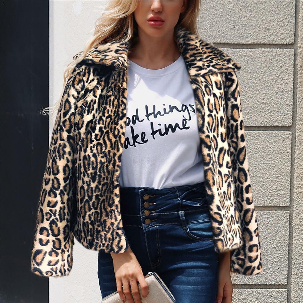 f398df74ac4d 2019 Elegant Leopard Print Faux Fur Coat Women 2018 Autumn Winter Warm Soft  Parka Overcoat Female Plush Casual Outwear Coat Top D18110103 From Tai01,  ...