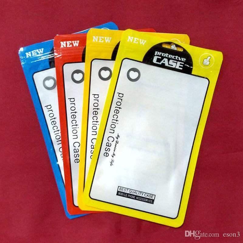 12 * 21 cm OPP PVC Poli Saco de Embreagem Zíper saco de Embalagem De Plástico OPP Pacote de embalagem de varejo saco bolsa para iphone 7 8 plus case 5.5 polegada