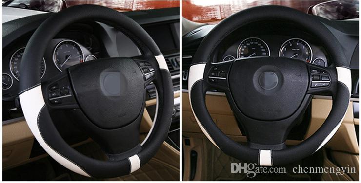 2018 cubierta del volante del coche nuevo Moda cuatro estaciones universal de cuero manillar cubierta del volante Universal 38cm FX-027