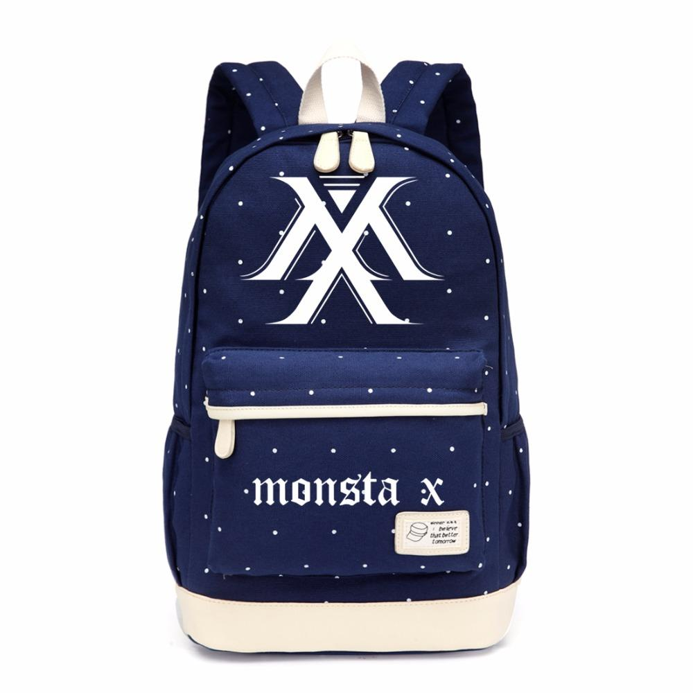 Wishot Kpop Monsta X Backpack Flowers Shoulder Travel Bag For Teenagers Girls Women Canvas Dot School Bag School Bags