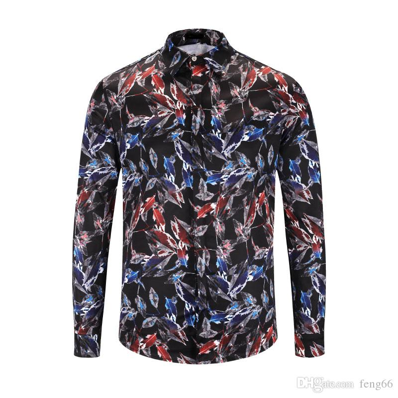 2018 autumn and winter new fashion long-sleeved shirt Medusa 3D floral print shirt men's luxury banquet shirt M-2XL