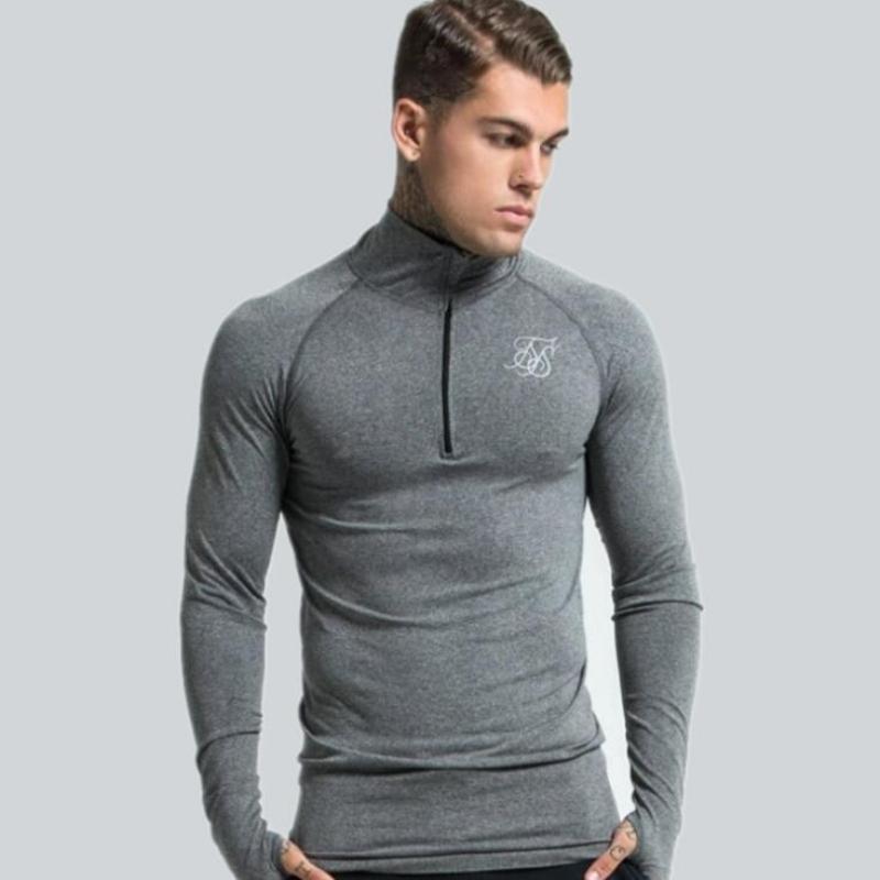T-shirts Laufs-t-shirts Lauf T-shirt Langarm Top Sport Männlichen Hemd Fitness Bodybuilding Baumwolle Sweatshirt Elastische Männer Gym Sport Strumpfhosen Hemd